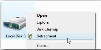 右鍵菜單快速整理Windows7磁盤碎片
