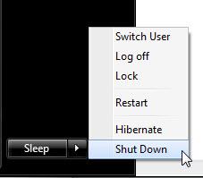 Windows 7的關機菜單就簡化了一些