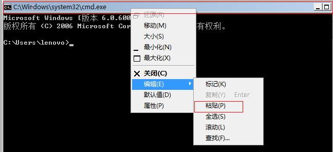如何將命令粘貼到DOS命令提示符窗口運行? 教程