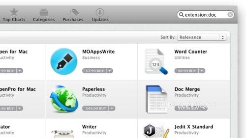 Mac App Store 中針對擴展名搜索應用