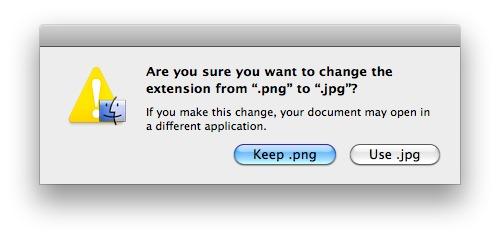 在Finder下關閉修改文件擴展名警告語