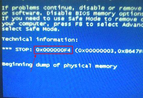 藍屏代碼0X000000f4的分析與解決