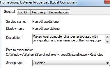 如何禁用Windows7中HomeGroup家庭組功能