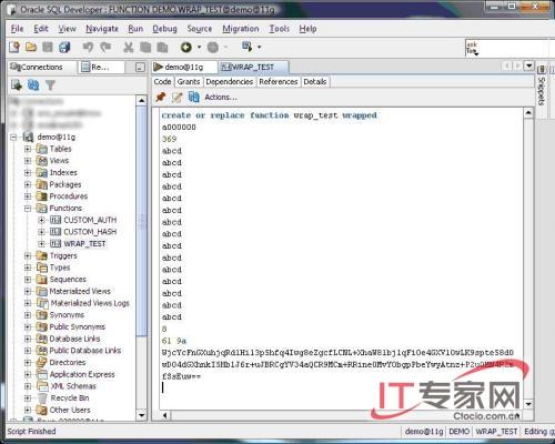 SQL Developer中封裝代碼的一個截屏